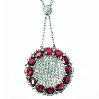Oval Ruby and Diamond Necklace in 18K White Gold (H, I1)