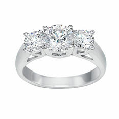 2.01 CT. T.W. Round Brilliant Lab-Grown Diamond Three Stone Ring in 18K White Gold (H,VS2)