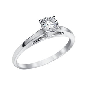 .51 CT. Round Brilliant Lab-Grown Diamond Solitaire Engagement Ring in 18K White Gold with Platinum Prongs (I,VVS1)