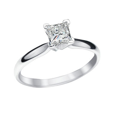 .73 CT. Princess Cut Lab-Grown Diamond Solitaire Engagement Ring in 18K White Gold with Platinum Prongs (G,VS2)