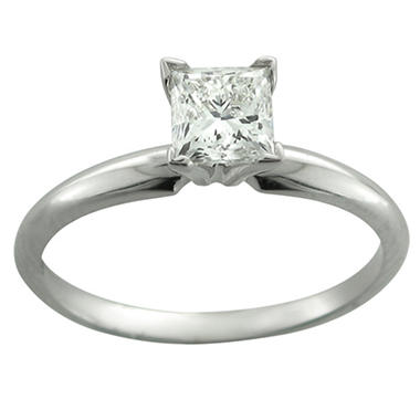 0.33 ct. Princess Diamond Solitaire Ring in 14k White Gold (H-I, I1)