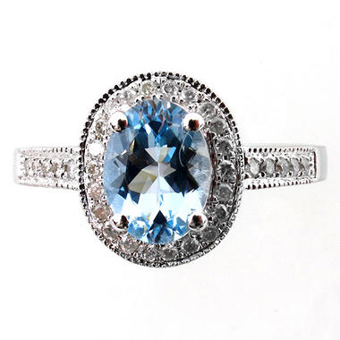 1.00 ct. Aquamarine and Diamond Ring in 14k White Gold