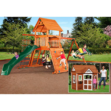 Grand Sequoia Cedar Swing Set/ Play Set with BONUS Monterey Playhouse