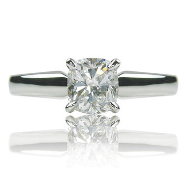 1.01 ct. Cushion Cut Diamond 14K White Gold Solitaire Ring (H, VVS2)