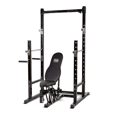 Marcy Pro Power Rack & Bench with Leg Developer and Arm Curl Accessories
