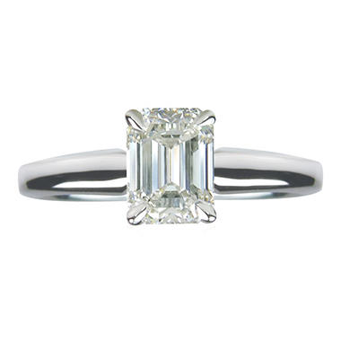 1.00 ct. Emerald Cut Diamond 14k White Gold Solitaire Ring (I, VVS2)