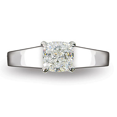 1.10 ct. Cushion Cut Diamond 14k White Gold Solitaire Ring (D, VS2)