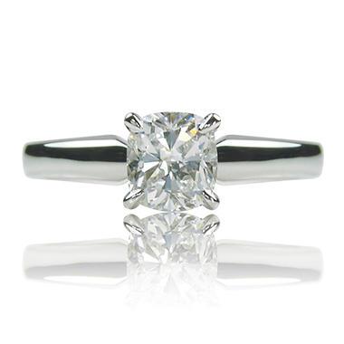 1.04 ct. Cushion Cut Diamond 14k White Gold Solitaire Ring (H, VS1)