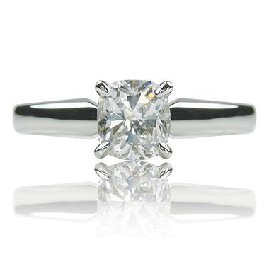 1.01 ct. Cushion Cut Diamond 14K White Gold Solitaire Ring (H, VS1)