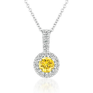 .83 ct. t.w. Round Brilliant Lab-Grown Yellow Diamond Pendant Set in 14K White Gold