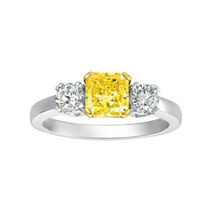 1.50 ct. tw. Round Brilliant Yellow and White Lab-Grown Diamond Three Stone Ring in 18K White Gold (Vivid Fancy Yellow, VS2)