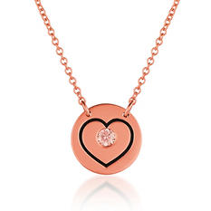 .08 ct. t.w.  Round Brilliant Lab-Grown Diamond Heart Pendant set in 14K Gold (Assorted Colors)