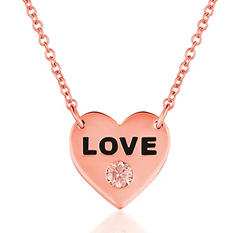 ".08 ct. t.w.  Round Brilliant Lab-Grown Diamond ""LOVE"" Pendant set in 14K Gold (Assorted Colors)"