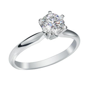 1 ct. Round Brilliant Lab-Grown Diamond Solitaire Engagement Ring in 18K White Gold w/ Platinum Prongs (I, VS1)