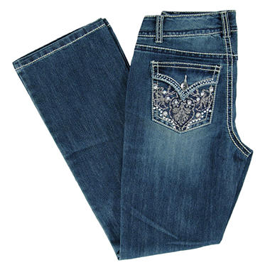 Designer Embellished Pocket Bootcut Denim - Light Wash