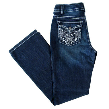 Designer Embellished Pocket Bootcut Denim - Dark Wash