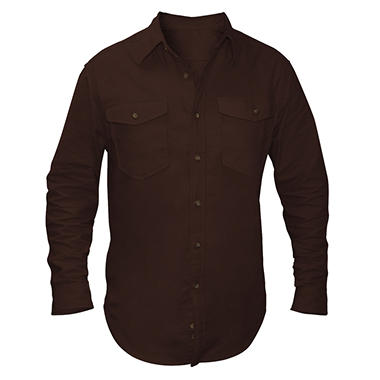 Solid Long Sleeve Flannel Shirt - Various Colors