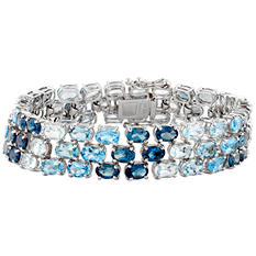 Gem RoManse Shades of Blue Topaz Bracelet in Sterling Silver