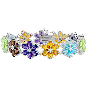 Gem RoManse Multistone Flower Bracelet in Sterling Silver
