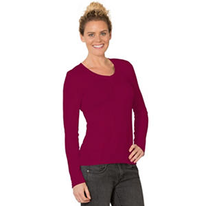 Eddie Bauer Ladies Long Sleeve V-Neck Cotton Modal Tee (Assorted Colors)