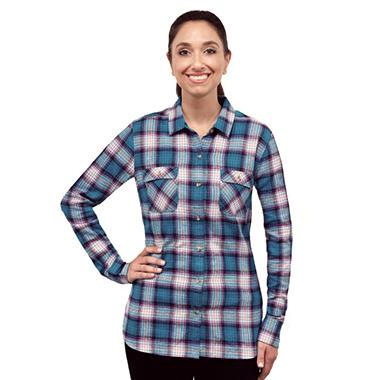Eddie Bauer Ladies Flannel Button Front Shirt (Assorted Colors)