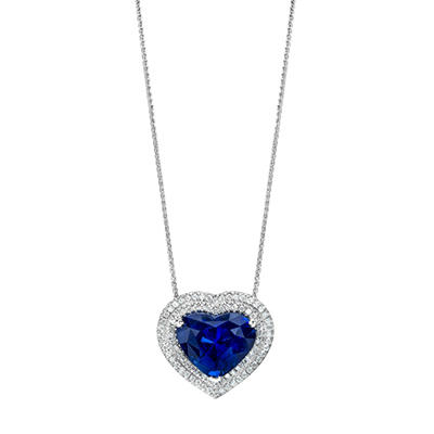 8.37 CT. TW. Heart Shaped Sapphire Pendant in Platinum