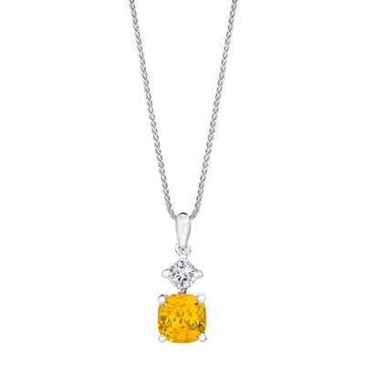 2.71 CT. TW. Cushion Cut Yellow Sapphire and Diamond Pendant in Platinum