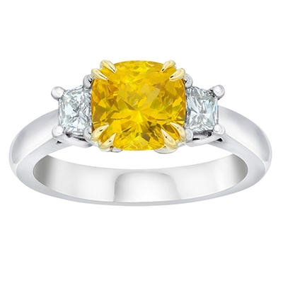 2.36 CT. TW. Cushion Cut Yellow Sapphire and Diamond Three Stone Ring in Platinum