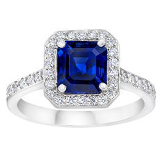 3.17 CT. TW. Asscher Cut Blue Sapphire and Diamond Halo Ring in Platinum