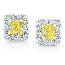 Radiant Cut Fancy Yellow Diamond Halo Earrings in Platinum