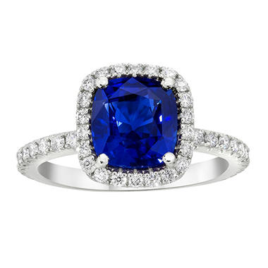 3.31 CT. TW. Cushion Cut Sapphire Halo Ring in Platinum