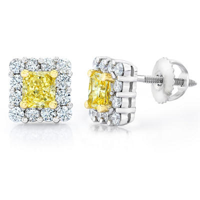 1.98 CT. TW. Radiant Cut Fancy Yellow Diamond Halo Earrings in Platinum