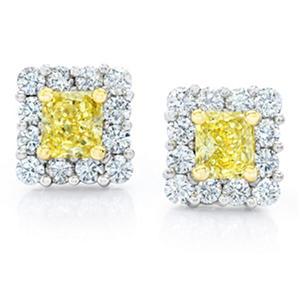 1.97 CT. TW. Radiant Cut Fancy Yellow Diamond Halo Earrings in Platinum