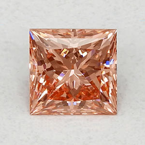 1.81 ct. Princess Cut Lab-Grown Diamond (Fancy Vivid Orangy Pink, VS2)