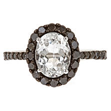 Color Jewels White Topaz and Black Diamonds Ring in 14k White Gold