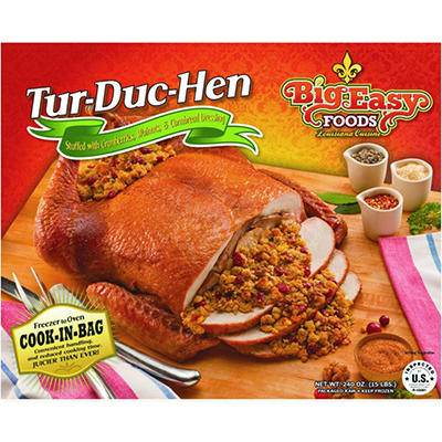 Big Easy Foods Tur-Duc-Hen Stuffed with Cranberries, Walnuts and Cornbread Dressing - 15 lbs.