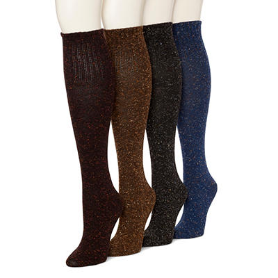 Burlington Women's 4 Pair Casual Boot Socks (Assorted Colors)