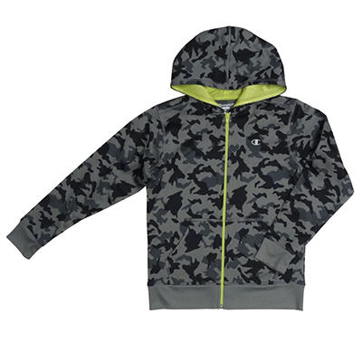 Champion Boys Poly Fleece Zip Hoodie, Gray Camo