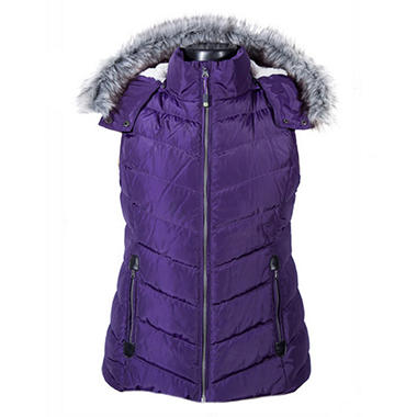 Chevron Quilted Puffer Vest With Hood (Assorted Colors)