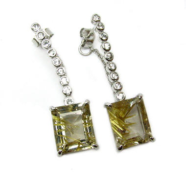 Sterling Silver Rutilated Quartz and White Topaz Earrings