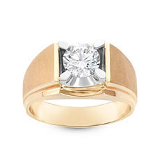 1.50 ct. Round Brilliant Lab-Grown Diamond Solitaire Men's Ring in 14K Yellow Gold (I, SI2)