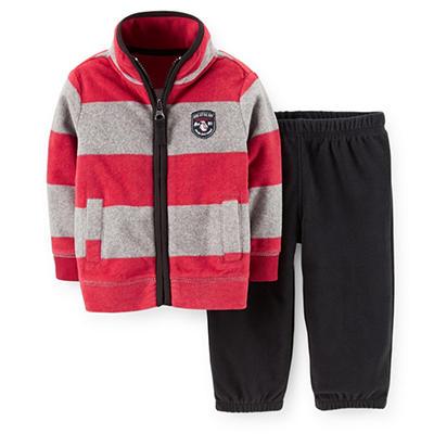 Carter's 2-Piece Boys Cardigan Set (Red & Gray)