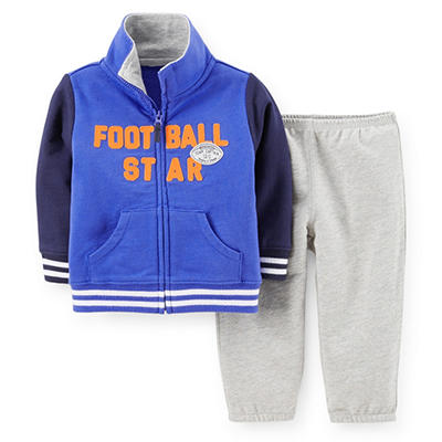 Carter's 2-Piece Boys Cardigan Set (Blue & Black Football Star)