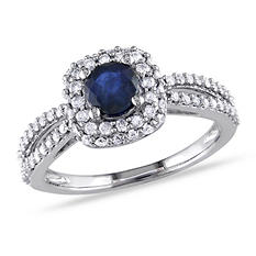 1.1 CT.T.W. Diamond, Sapphire Ring in 14K White Gold