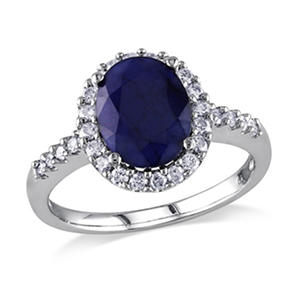 3.72 ct. t.w. Diffused Sapphire and Diamond Engagement Ring in 14K White Gold