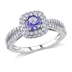 1.00 ct. t.w. Diamond and Tanzanite Engagement Ring in 14K White Gold
