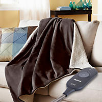 Holmes Oversized Velvet Plush and Sherpa Heated Throw (Assorted Colors)