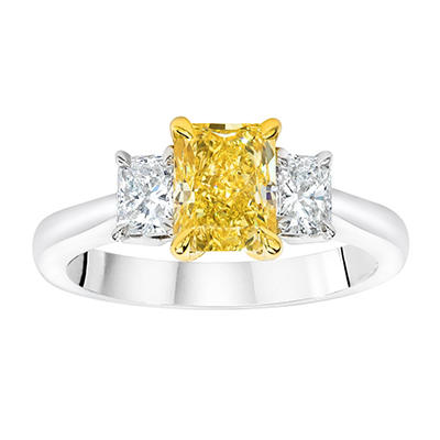 1.96 CT. TW. Radiant Cut Fancy Yellow Diamond Ring in Platinum