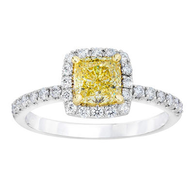1.46 CT. TW. Cushion Cut Fancy Light Yellow Diamond Ring in 18k White Gold