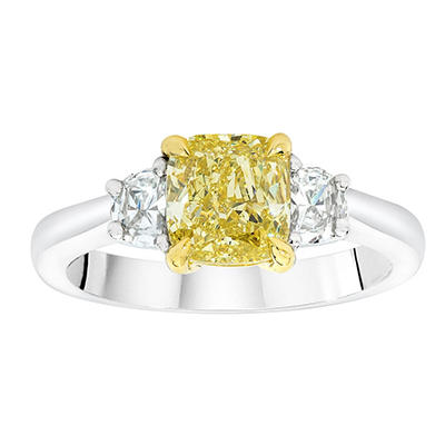 3.85 CT. TW. Cushion Cut Fancy Light Yellow Diamond Ring in Platinum